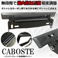ナンバープレート ステー カーボン調 ブラック 角度調整 可能 無段階 軽自動 普通車 フロント イメチェン 車 汎用 外装 CABOSTE