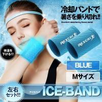 冷感アイスバンド Mサイズ ブルー スポーツ用 リストバンド 冷却 涼しい 男女兼用 フィットネス ジム エクササイズ REICE-M-BL