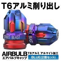 エアバルブキャップ 2個入り ブルー ハイデザイン T6アルミ削り出し 米式バルブ用 2-AIRBBLS-BL