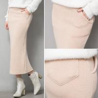 【sk17724】ボリューム感のあるセクシーなボディラインを作る♪ニットロングスリットタイトスカート