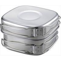 おすすめ!!     角型鍋・角型フライパン ・皿×2・マグ×2のペアで使える  キャンピング鍋6点...