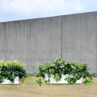 屋外対応・グリーンミックスプランター・B(全高45cm×全幅90cm×奥行45cm)(ポトス/リーフ)(野外/戸外/室内可)(人工観葉植物/造花/アレンジ)