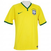 ブラジル代表(CBF)の2014ホーム半袖ユニホーム。 ウェスタンサイズのホームスタジアムジャージ。...