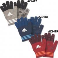 アディダス、ニットグローブ スポーツに最適な手袋。シンプルなロゴデザインモデル。 素材:フラットニッ...