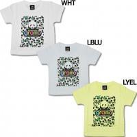 イタリア語の「感謝」と「世界」を意味するグラモ、キッズ用半袖Tシャツ。 サッカーボールとパンダのイラ...