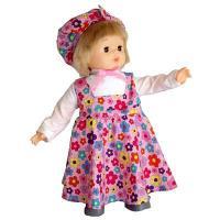 英国テイストのモンシェリドール。おしとやかなロングスカートバージョン、ピンク地にカラフルなお花がかわ...