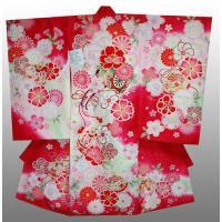 女子お宮参りの着物、フードセット付き。刺繍花車に百花繚乱柄赤 ● セット内容   着物、長襦袢、付け...