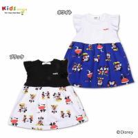 ディズニーコラボワンピース♪スカート部分がミッキーとミニーのカップルデザインがキュート!袖部分はフリ...