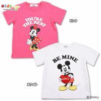ミッキーとミニーのディズニーコラボTシャツ☆バックスタイルはシンプルなロゴ入り!ピンクがミニーちゃん...