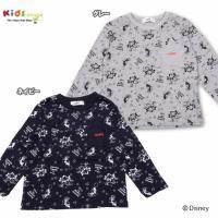 ディズニーコラボ商品!胸元には☆型ポケット、モノクロのミッキー&ミニーの総柄プリントがちょっぴりレト...