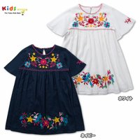 花と星の刺繍がポイントのエキゾチックな布帛のドレスは女の子が喜びそうなデザイン!トレンドのボヘミアン...