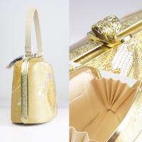 帯地 草履 バッグ セット 日本製【フリーサイズ/2枚芯】送料無料 着物 ゴールド 金