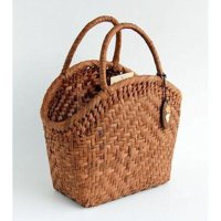 てまひま工房 謹製 山葡萄バッグ 半月口 (削皮) 内布付 ハンドバッグ tm88045