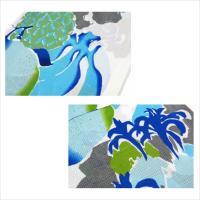 ゆかた レトロ 芸艸堂 フルーツ パイナップル 白 水色 グレー 緑 UNSODO ブランド 浴衣