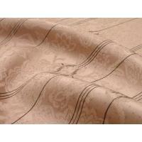 送料無料 着物 小紋 反物 正絹 お仕立て代・裏地代込 ピンクベージュ地牡丹更紗に絣縞≪丹後ちりめん≫