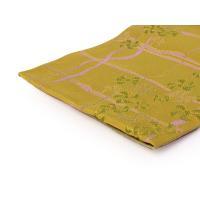 洗える 半幅帯 黄色地よろけ井桁に小花模様帯 単品 女性 半巾 細帯