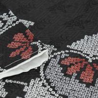 洗える着物 袷 小紋 仕立て上がり 単品 レディース M L フリー サイズ 黒 白 赤 橘 疋田 女性 着物 プレタ着物 新品 和服 和装