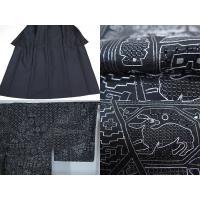 ■裄65cm 新品 お仕立上り 総汕頭刺繍 紬 訪問着 黒地 (K2985348-1516RY)