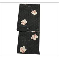 国産生地 夏着物セット M/Lサイズ  16-15.黒地に花柄の着物と淡い水色地に風鈴やうちわ柄の帯