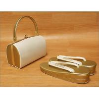 礼装用 草履バッグセット ゴールドの草履&バッグ Lサイズ