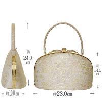紗織 礼装用 草履バッグセット M/Lサイズ シルバー系の草履&華柄のバッグ 日本製