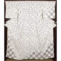 訪問着 正絹 瓢箪に格子縞 ki19389 お仕立て上がり お出かけはお着物で