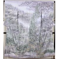 訪問着  友禅訪問着  正絹  日本風景 北山杉 ki19656  仕立て上がり お出かけはお着物で
