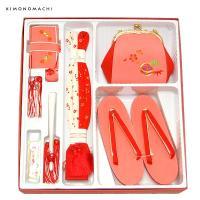 七五三 小物セット「桃色 毬の刺繍」箱迫、バッグ、草履、帯締め、末広、お守り 箱迫セット 七五三小物 日本製