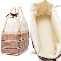 竹籠 籠バッグ単品「葉っぱに露」 夏着物、浴衣に 巾着バッグ 籠巾着 浴衣巾着