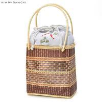 竹籠 バッグ単品「薄グレー 魚」 夏着物、浴衣に 巾着バッグ 籠巾着 浴衣巾着