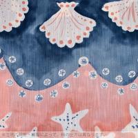 ツモリチサト 女性浴衣単品「黒×紺×ピンク 段模様に貝、ヒトデ」tsumori chisato お仕立て上がり浴衣 女性浴衣 7T-21