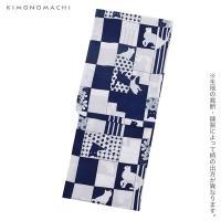 京都きもの町オリジナル 浴衣セット「青×白 猫」レディース S、フリー、TL、LL 女性浴衣3点セット ポリエステル浴衣 吸水速乾
