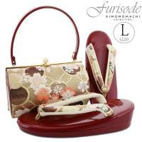 振袖 草履バッグセット「ゴールド×ボルドー 輪繋ぎに桜」振袖草履 Lサイズ 1の2枚芯 振袖小物