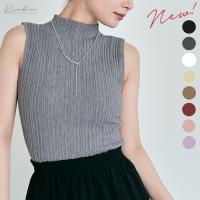 ●全5色!ハイネックノースリーブプリーツニットトップス! ●プリーツ編みのデザインが新鮮な人気のハイ...