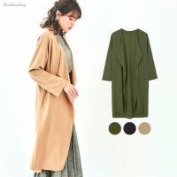 【商品説明】 ●全3色!ノーボタンドレープカラーロングコート ●優雅に流れるドレープ襟が、品の良さを...