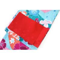 レディース 浴衣 2点 セット Sサイズ レトロな撫子(アクア)柄 赤地にクローバー柄の単衣帯 [y0152] コーディネート 帯