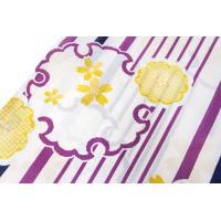 レディース レトロモダン 浴衣 単品 縞と雪輪(生成り×紫×黒) フリーサイズ 帯 下駄 レトロ 《SG》