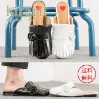 サンダル レディース ミュール フリンジ バックル フラット おしゃれ トレンド 人気 韓国 ファッション 黒 白 エナメル 春 夏