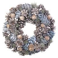 ナチュラルクリスマスリース 35cm Lサイズ ブルー ナチュラルリース 玄関 おしゃれ