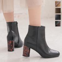 ブーツ ショートブーツ  シューズ  レザー調 靴 太めヒール スクエアトゥ 黒 茶 レディース I1980