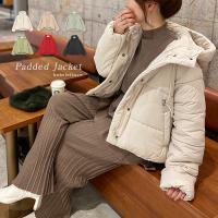 レディースコート アウター コート ショート丈 ダウン 中綿コート ベージュ フード付き ベージュ ダウン 冬 暖か 黒 K809