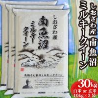 お米<送料無料>新潟県南魚沼産ミルキークイーン 玄米30kg 令和元年産米 精米無料