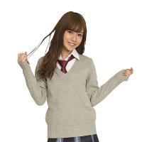 あすつく TEENS EVER 17AW Vネックセーター 全4色 M・Lサイズ スクールセーター 長袖 女子 制服 無地 高校生 JK クリアストーン CR-033