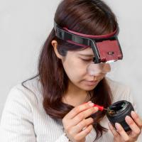 拡大鏡 ルーペ LED ライト付き ヘッドルーペ 1.7倍 2倍 2.5倍 3.5倍 作業用ルーペ 虫眼鏡 メガネルーペ 老眼 精密作業 シニアグラス
