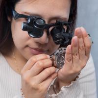 ルーペ メガネ LED ヘッドルーペ 拡大鏡 10倍 15倍 20倍 25倍 軽量 LEDライト付き...