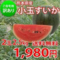 熊本県産ご自宅用訳ありの小玉すいかを送料無料でお届け。 ・約2.5kg 2玉入り ・本商品は訳あり商...