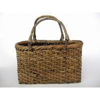 籐 手提げかご (薄茶) バッグ 買い物カゴ 39-191