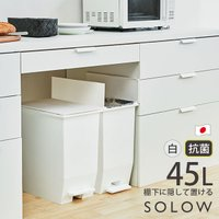 SOLOW ペダルオープンツイン 45L 大容量 ダストボックス ペダル式ゴミ箱 日本製 抗菌 防汚 リス ホワイト GSLW005 送料無料