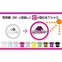2枚以上のご購入で送料無料  紫外線 UV に反応して色が変わる富士山Tシャツ(レッド)S〜XL 【富士山世界文化遺産登録記念】