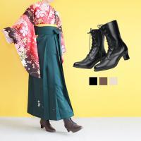 《レディースレースアップブーツ》  袴との相性バツグン、着物屋さんが作った編み上げブーツ。  くびれ...
